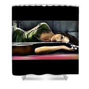 Carla Bruni With Guitar Shower Curtain