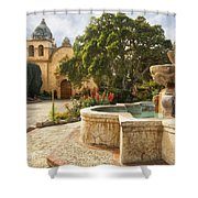 Carmel Church And Fountain Shower Curtain