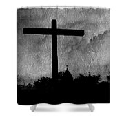 Carmel Mission Cross Shower Curtain