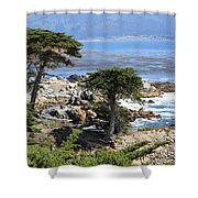 Carmel Seaside With Cypresses Shower Curtain