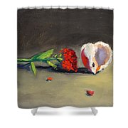 Carnation Flower And Sea Shell Shower Curtain