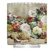 Carnations, Roses, Grapes And Peaches Shower Curtain