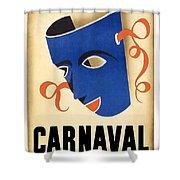 Carnaval En La Habana 1941 - Carnival Mask - Retro Travel Poster - Vintage Poster Shower Curtain