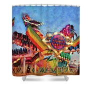 Carnival - A Most Colorful Ride Shower Curtain by Mike Savad