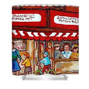 Carole Spandau Paints Montreal Memories - Montreal Landmarks - Schwartzs Hebrew Deli St. Laurent  Shower Curtain