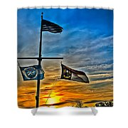 Carolina Beach Lake Flag Pole V2 Shower Curtain