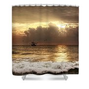 Carolina Beach Shrimp Boat At Sunrise Shower Curtain