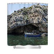 Caroline Cave And Maltese Traditional Boat Shower Curtain