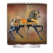 Carousel Black Stallion Body Shower Curtain