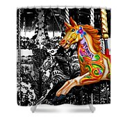 Carousel In Isolation Shower Curtain