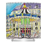 Carousel Paris Illustration Hand Drawn Shower Curtain