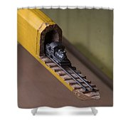 Carpenter Pencil Carved Into A Train By Cindy Chinn Shower Curtain