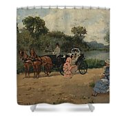 Carriage Ride By The River Shower Curtain
