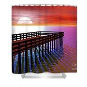 Carribean Sunset Pier Shower Curtain
