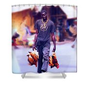 Carrying Chickens To Dakar Shower Curtain