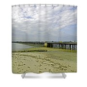 Cars Travelling On Ryde Pier Shower Curtain