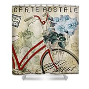 Carte Postale Vintage Bicycle Shower Curtain