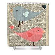 Cartoon Birds In Love  Shower Curtain