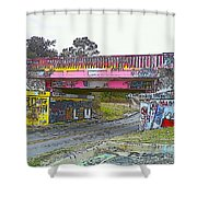 Cartoon Street Art Shower Curtain