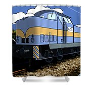 Illustrated Train Shower Curtain