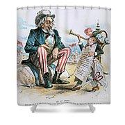 Cartoon: Uncle Sam, 1893 Shower Curtain