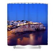 Carvoeiro In The Algarve Portugal At Night Shower Curtain