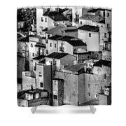 Casares Pueblo. Black And White Shower Curtain