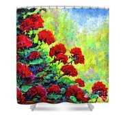 Cascade Of Geraniums Shower Curtain