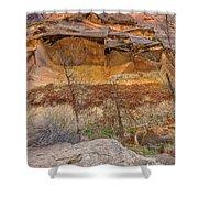Cascade Of Glowing Sandstone Shower Curtain