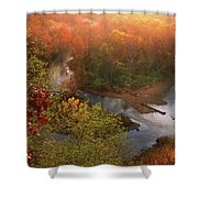 Cascade Valley Sunrise Shower Curtain