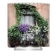 Cascading Floral Balcony Shower Curtain