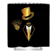 Casino Logo With Skull Icon And Cards, Gold And Black Color Shower Curtain