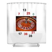 Casino Roulette Wheel Lucky Numbers Shower Curtain