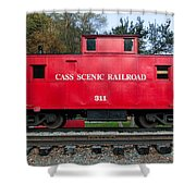 Cass Red Caboose Shower Curtain