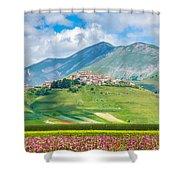 Castelluccio Di Norcia With Beautiful Summer Fields Shower Curtain