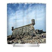 Castelo Do Queijo Old Fort Landmark In Porto Portugal Shower Curtain