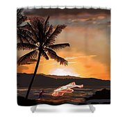 Casting Net At Sunset Shower Curtain