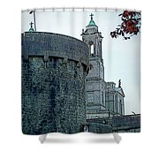 Castle And Church Athlone Ireland Shower Curtain