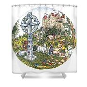 Castle Cross Circle Shower Curtain