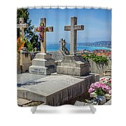 Castle Hill Graves Overlooking Nice, France Shower Curtain