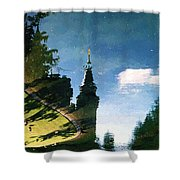 Castle In The Lake Shower Curtain
