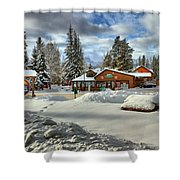 Castle Mountain Chalets Panorama Shower Curtain