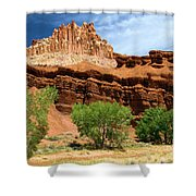 Castle Over Cottonwoods Shower Curtain