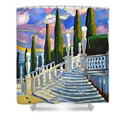 Castle Patio 1 Shower Curtain by Milagros Palmieri