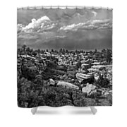 Castlewood Canyon And Storm - Black And White Shower Curtain