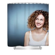 Casual Portrait Of A Cute, Authentic Girl. Shower Curtain