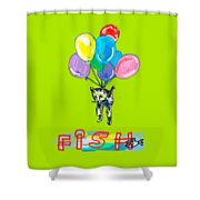 Cat And Fish Friend Shower Curtain