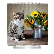 Cat And Sunflowers Shower Curtain by Nailia Schwarz