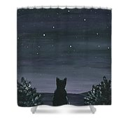 Cat And The Stars Shower Curtain