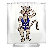 Cat Bathing Suit Shower Curtain